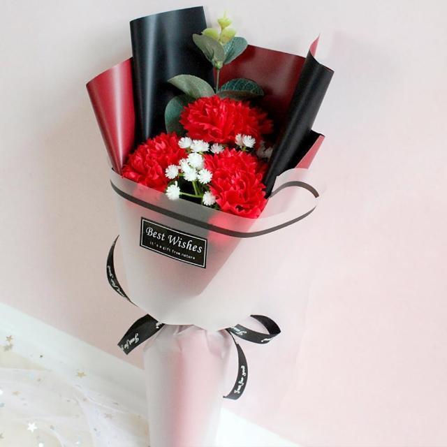 母親節康乃馨香皂花束1束(母親節花束 永生花 派對 花束 母親節布置 媽媽節送禮 裝飾 拍照道具)
