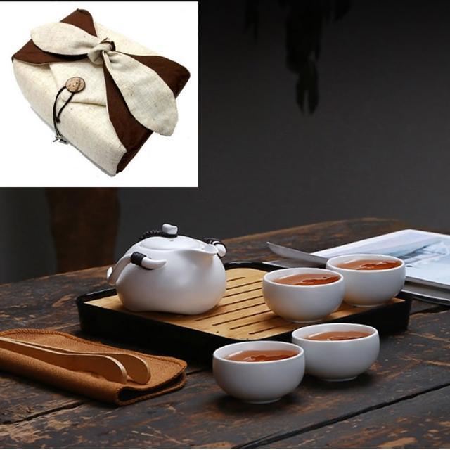 【原藝坊】一壺四杯旅行茶具組(附小米黃棉麻收納包)