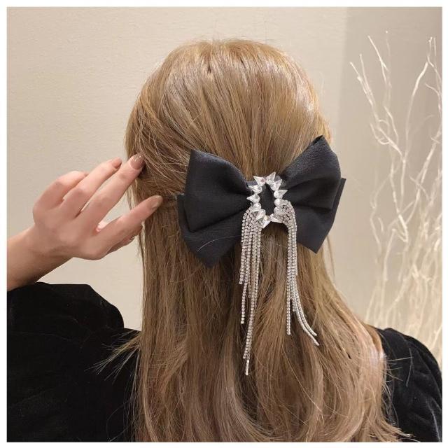 【HaNA 梨花】美麗重工水鑽之夜.優雅絲綢蝴蝶結髮夾