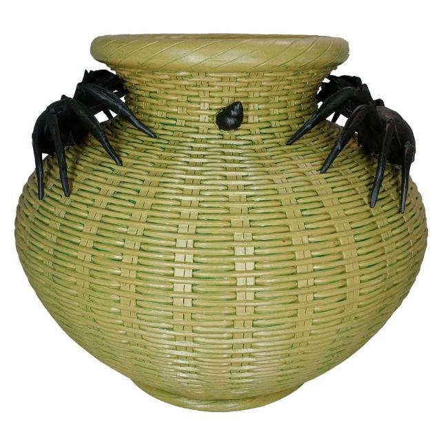 【KC】螃蟹竹簍浮雕陶瓶1入(PV025-07)