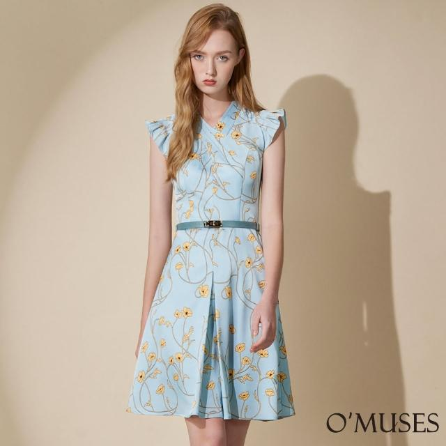 【OMUSES】V領印花A-Line藍色短洋裝Y28-24320-2(S-2L)