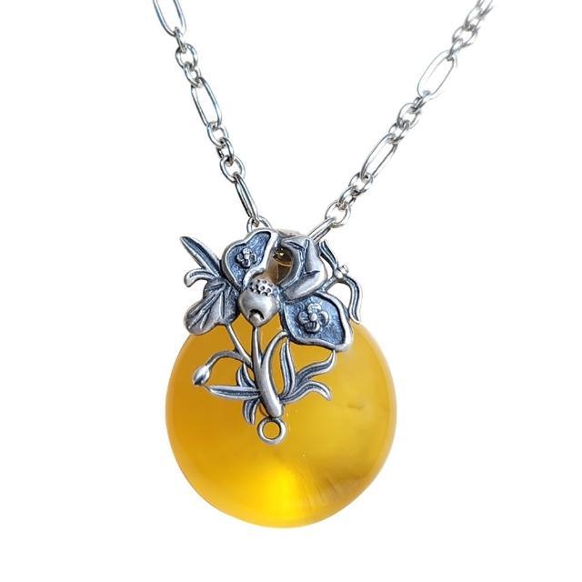 【優雅琥珀】來自波羅地海 圓形金珀 立體銀雕項鍊(925純銀 立體花葉雕刻)
