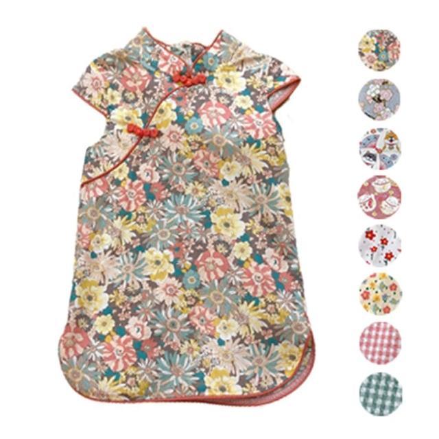 【橘魔法】印花滾邊盤扣造型小包袖旗袍洋裝(洋裝 女童 連身裙 中童 中國風 兒童 童裝)