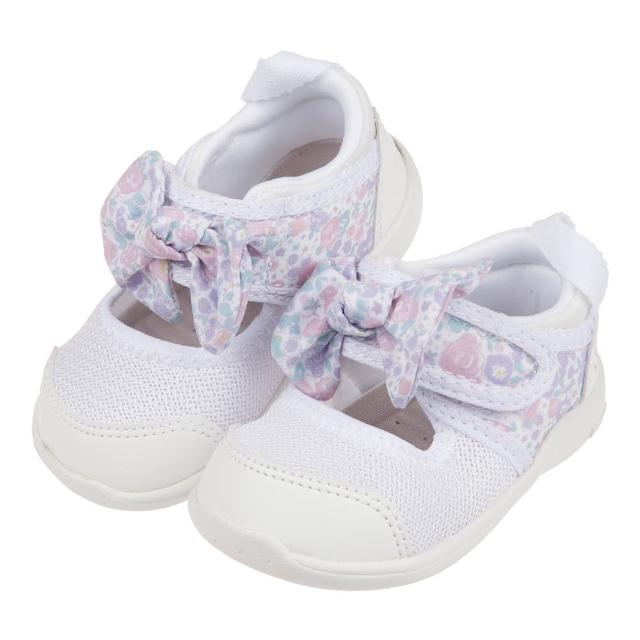 【布布童鞋】日本IFME白色和風花繪蝴蝶結寶寶機能水涼鞋(P1G502M)