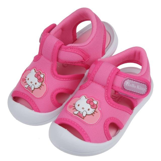 【布布童鞋】HelloKitty亮麗凱蒂貓桃紅色透氣寶寶涼鞋(C1G429H)