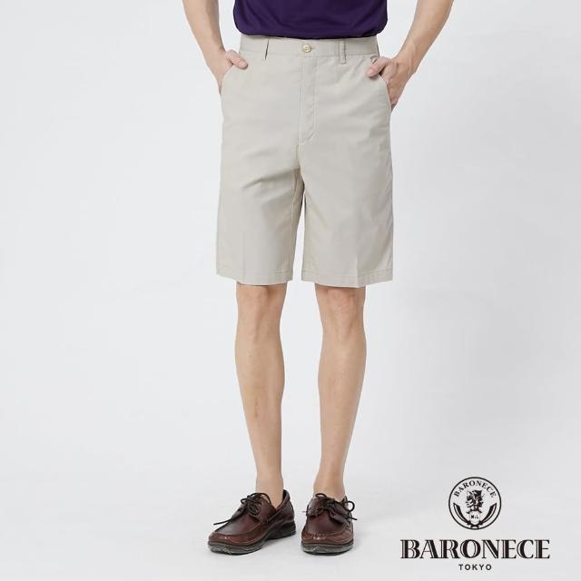 【BARONECE 百諾禮士】男裝 彈性天絲棉麻平口休閒短褲--卡其色(1188960-82)
