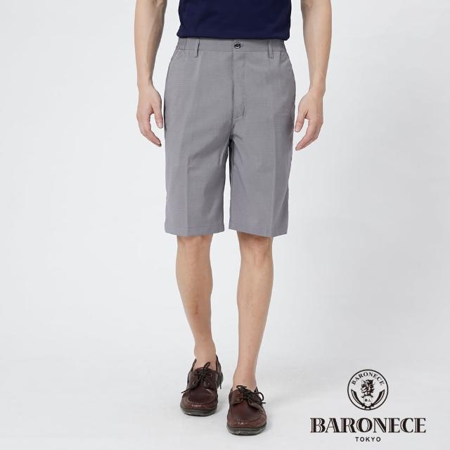 【BARONECE 百諾禮士】男裝 鬆緊腰頭彈性縲縈平口休閒短褲--灰色(1188962-92)