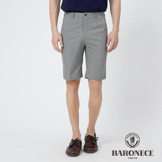 【BARONECE 百諾禮士】男裝 彈性合身平口休閒短褲--灰色(1188965-95)