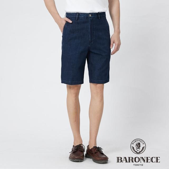 【BARONECE 百諾禮士】男裝 微彈性牛仔平口休閒短褲--藍色(1188966-38)