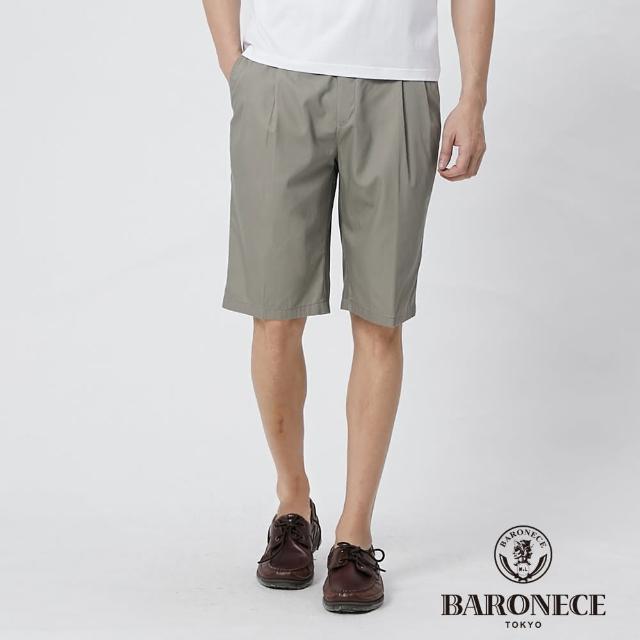 【BARONECE 百諾禮士】男裝 純棉鬆緊腰頭打褶休閒短褲--橄欖綠(1188968-47)