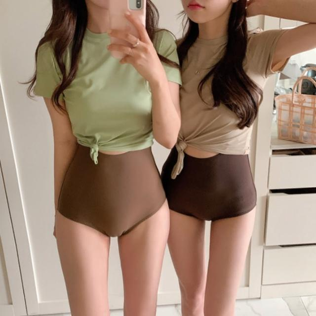 【Eclare & Miel】泳裝 泳衣 日系保守短袖遮肚顯瘦連身泳裝RCSW0254(三色)