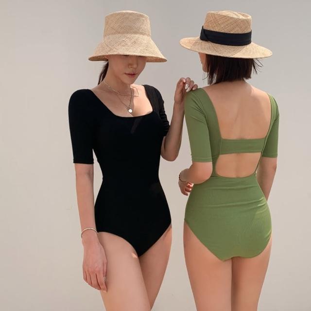 【Eclare & Miel】泳裝 泳衣 性感露背五分袖連身泳裝RCSW0249(二色)