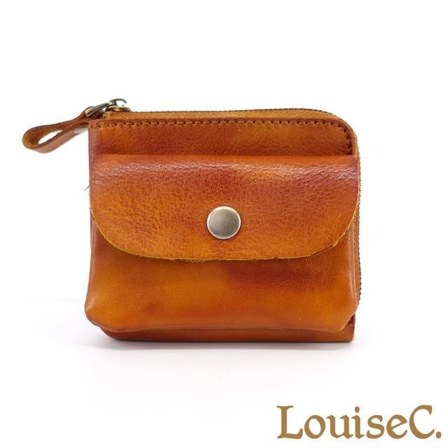 【LouiseC.】Tree House 真牛皮簡約L型拉鍊短夾零錢包-駝色(YSNT6566-04)