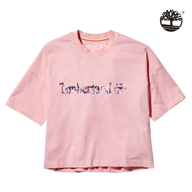 【Timberland】女款蜜桃粉有機棉點狀線形LOGO短版T恤(A2CWVBC3)