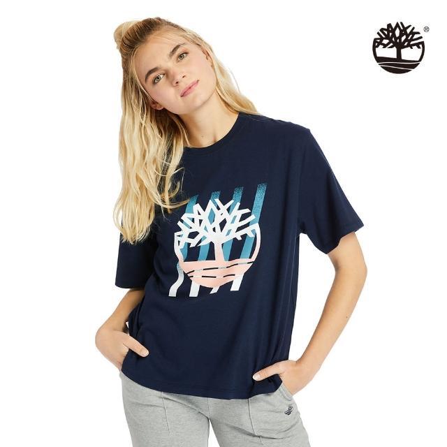 【Timberland】女款海軍藍漸層樹型LOGO寬鬆T恤(A2FYC451)