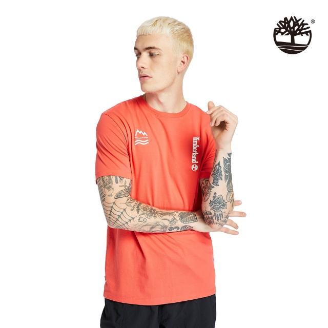 【Timberland】男款珊瑚紅拼接特色印花短袖T恤(A2DVC801)