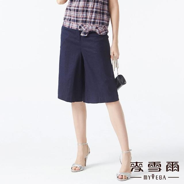 【MYVEGA 麥雪爾】素面亞麻五分寬褲-藍