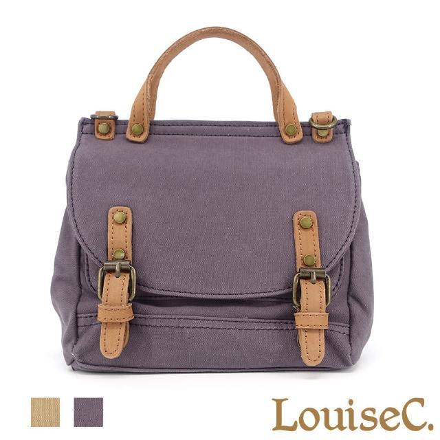 【LouiseC.】Tree House 真牛皮+帆布翻蓋手提斜背小郵差包-2色-異材質設計(YS7183)
