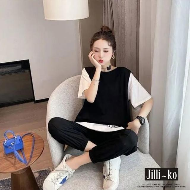 【JILLI-KO】韓版假兩件休閒套裝-F(灰/黑)