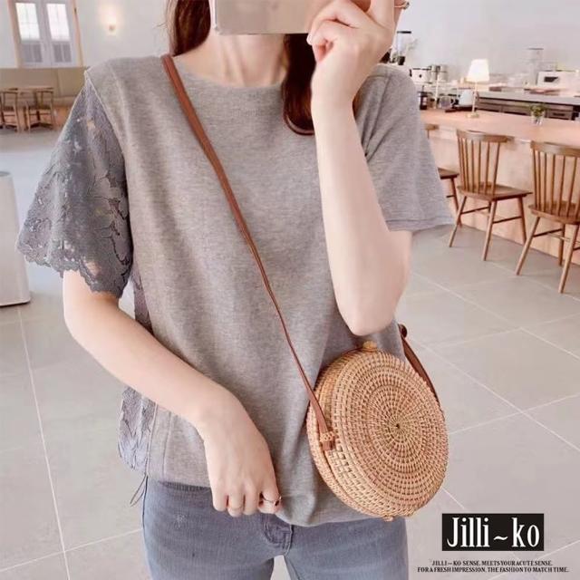 【JILLI-KO】蕾絲短袖拼接T恤-M/L(灰)