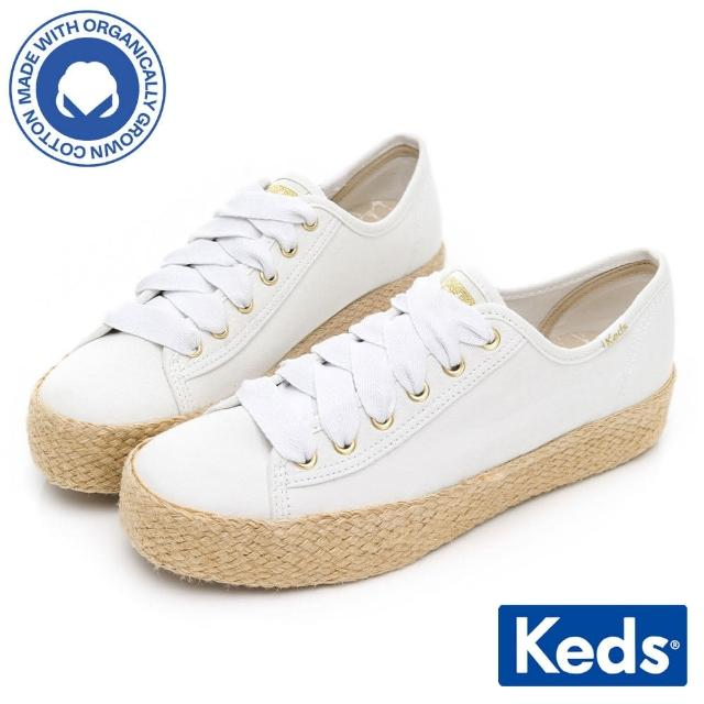 【Keds】TRIPLE KICK 有機棉夏日草編厚底鞋(白)