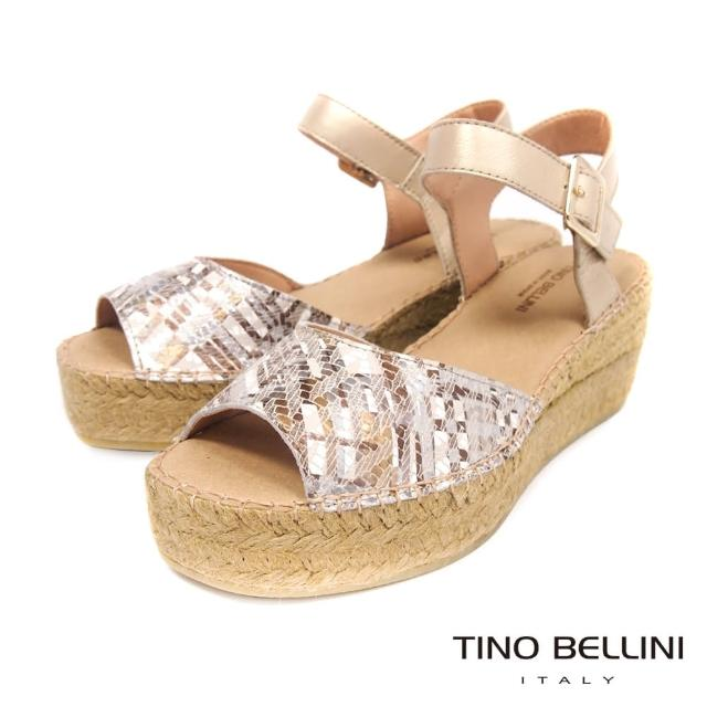 【TINO BELLINI 貝里尼】西班牙進口抽象光束草編楔型涼鞋FOT0008(玫瑰金)