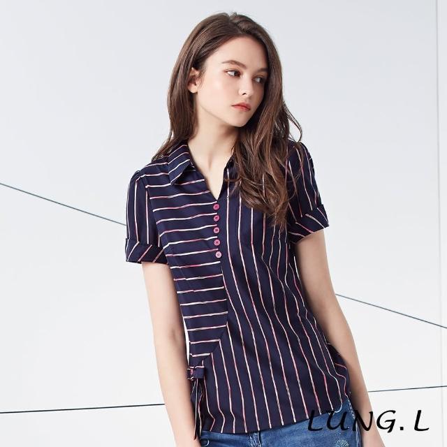 【LUNG.L 林佳樺】LJ02A#藍底彩色條紋拼接短袖上衣