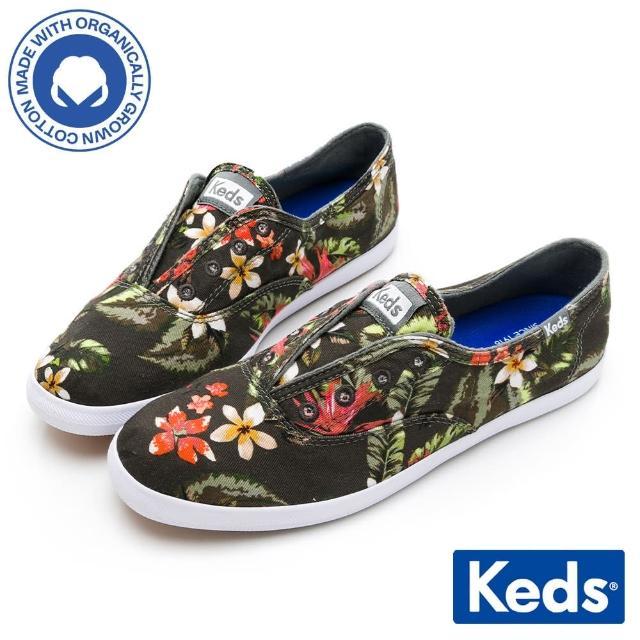 【Keds】CHILLAX 熱帶印花有機棉休閒鞋(黑彩)