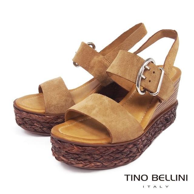 【TINO BELLINI 貝里尼】波西米亞牛麂皮木紋草編楔型涼鞋FPT0001(棕)