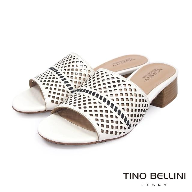【TINO BELLINI 貝里尼】巴西進口氣質沖孔中低跟拖鞋FRV0001(白)