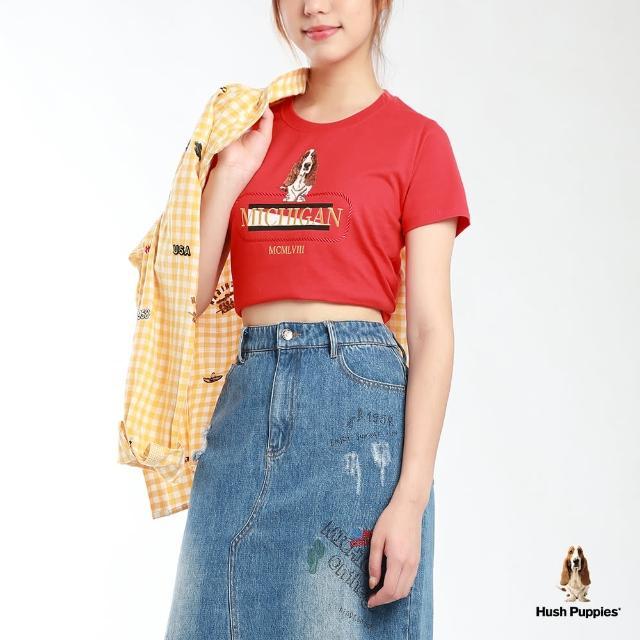 【Hush Puppies】女裝雙色植絨刺繡狗短袖T恤(紅 / 13211101)