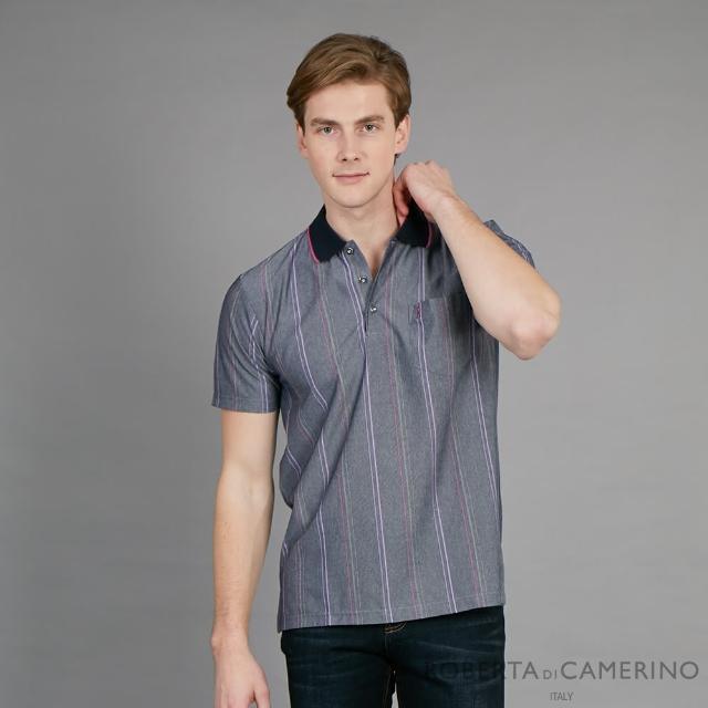 【ROBERTA 諾貝達】台灣製 休閒樂活 典雅條紋短袖POLO棉衫(灰色)