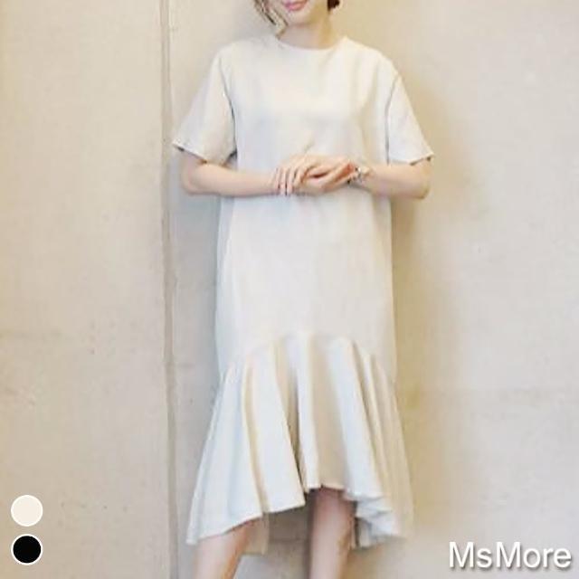 【MsMore】韓國氣質甜美人魚尾裙襬波浪洋裝#109234現貨+預購(2色)