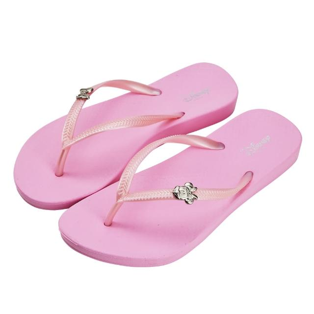 【Disney 迪士尼】迪士尼女鞋 米妮 質感飾釦人字拖鞋-粉(MIT台灣在地工廠製造)