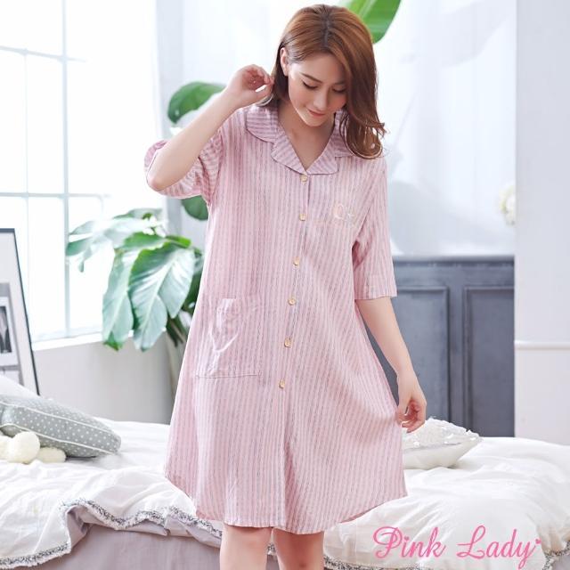 【PINK LADY】任-居家棉柔短袖睡裙 恬淡氛圍(粉色)