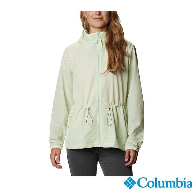 【Columbia 哥倫比亞】女款-UPF50防潑水外套-薄荷綠(UWR03690MT / 防曬.防潑.休閒)