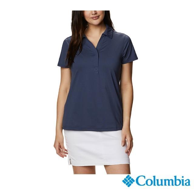 【Columbia 哥倫比亞】女款-UPF50快排短袖Polo衫-深藍(UAR22540NY / 快排.防曬.休閒)