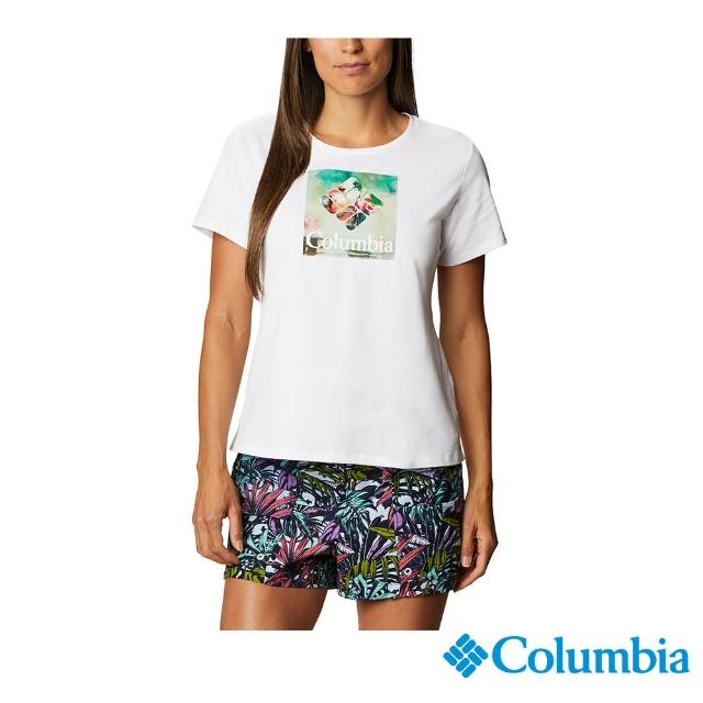 【Columbia 哥倫比亞】女款- LOGO快排短袖上衣-白色(UAR31230WT / 快排.運動.戶外)