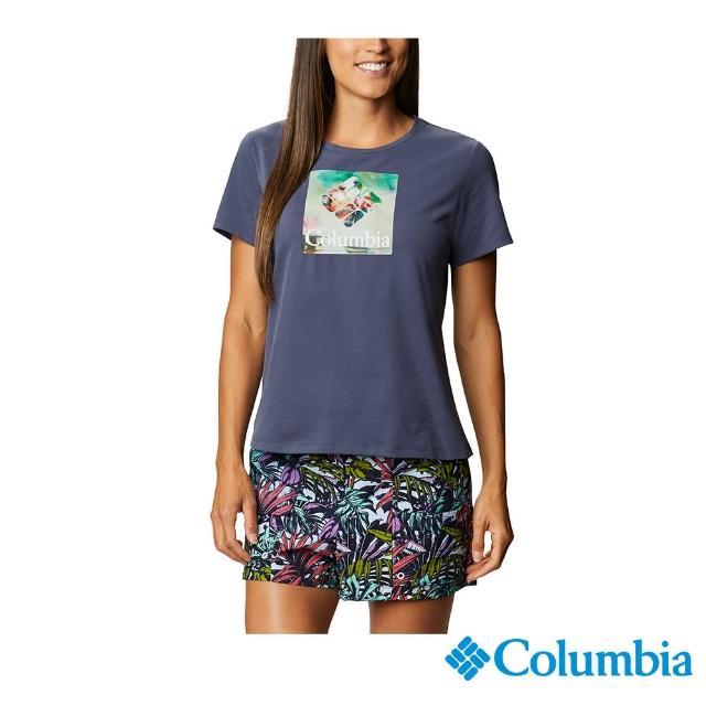 【Columbia 哥倫比亞】女款- LOGO快排短袖上衣-藍印花(UAR31230TY / 快排.運動.戶外)
