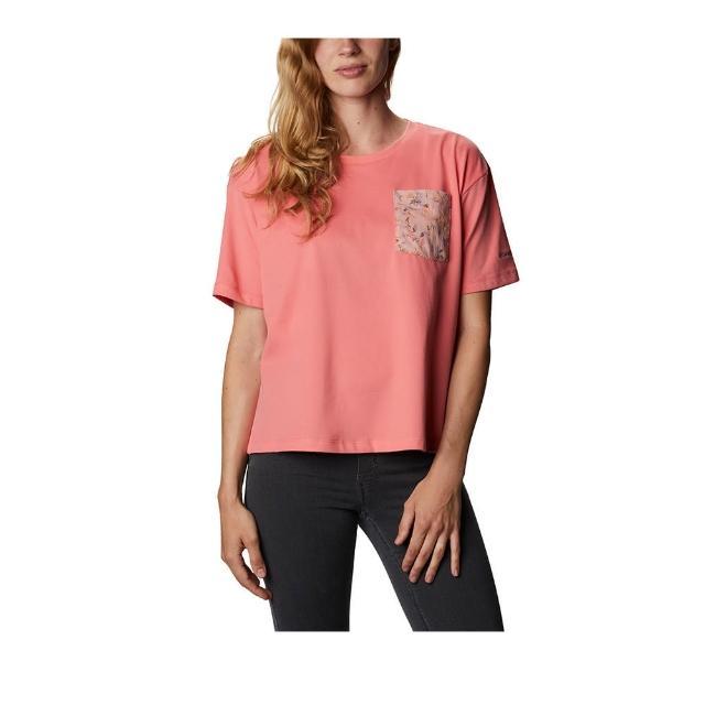 【Columbia 哥倫比亞】女款-口袋快排短袖上衣-粉紅(UAR31190PK / 快排.運動.戶外)
