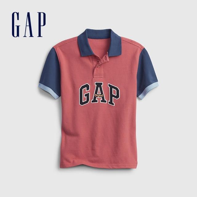 GAP【GAP】男童 Logo純棉撞色POLO衫(689373-紅色)