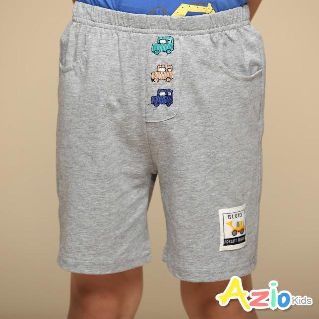 【Azio Kids 美國派】男童 短褲 彩色汽車刺繡棉質運動短褲(灰)