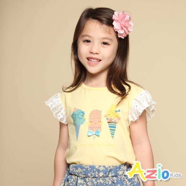 【Azio Kids 美國派】女童 上衣 蝴蝶結可愛冰淇淋印花蕾絲荷葉短袖上衣(黃)