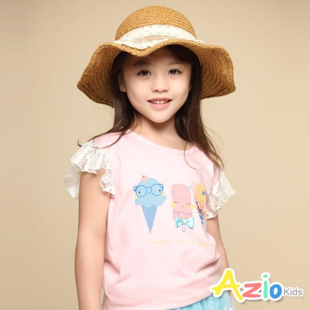 【Azio Kids 美國派】女童 上衣 蝴蝶結可愛冰淇淋印花蕾絲荷葉短袖上衣(粉)