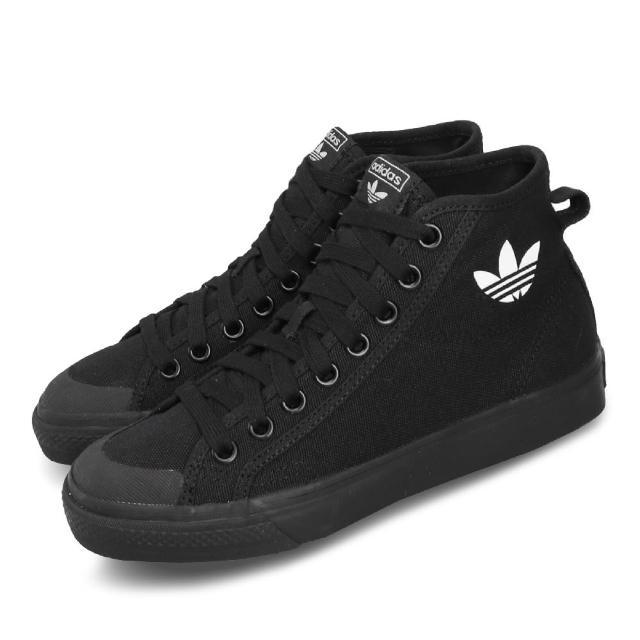 【adidas 愛迪達】休閒鞋 Nizza HI 復古 中筒 男女鞋 愛迪達 三葉草 帆布鞋 情侶款 穿搭 黑 白(B41651)