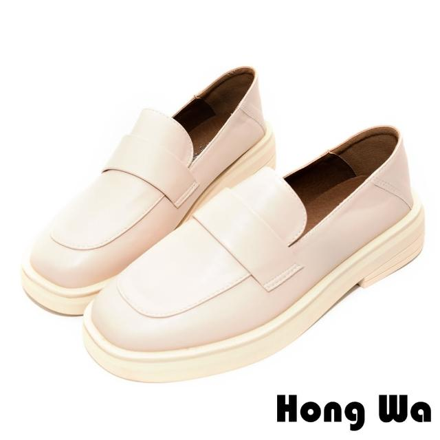 【HongWa】素面風格•質感牛紋皮扣帶厚底樂福鞋(米白)