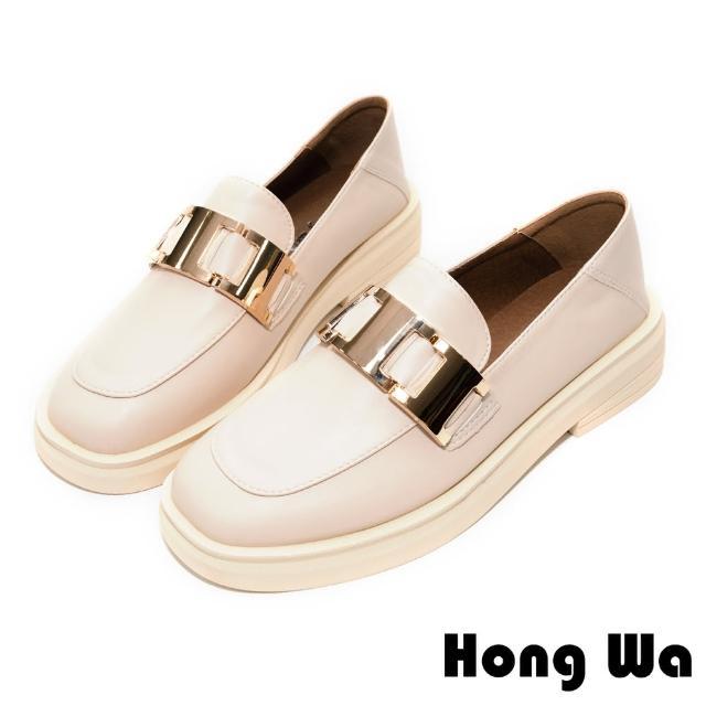 【HongWa】時尚設計•質感牛紋皮飾扣厚底樂福鞋(米白)
