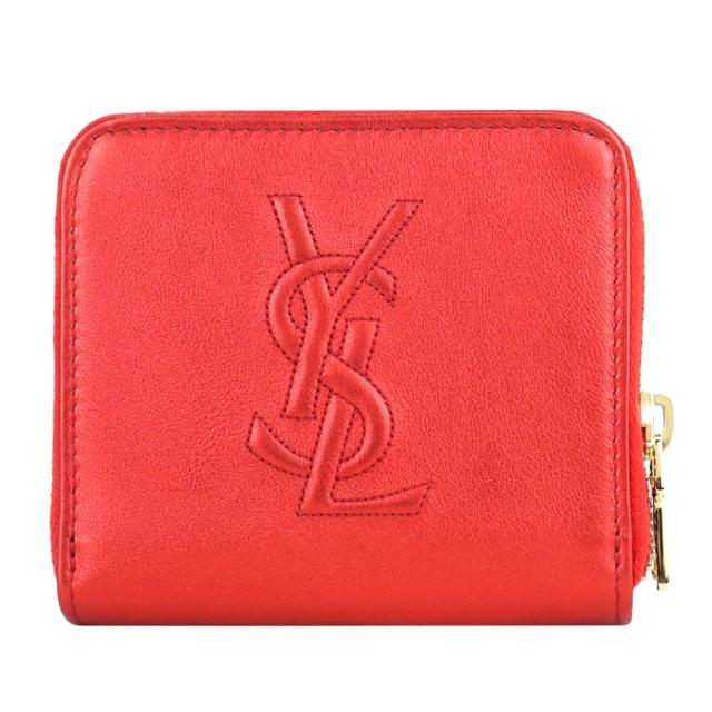 【YSL】Belle de Jour系列經典 LOGO 皮革壓紋皮扣短夾(金屬紅)