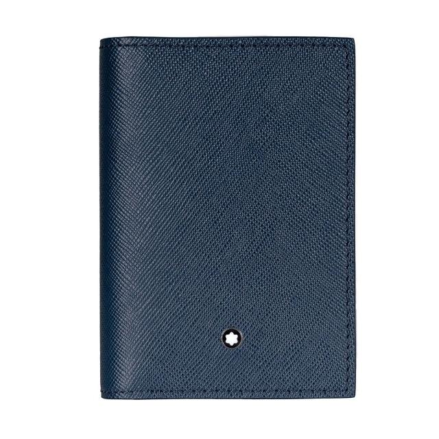 【MONTBLANC 萬寶龍】匠心系列牛皮名片夾(藍色)