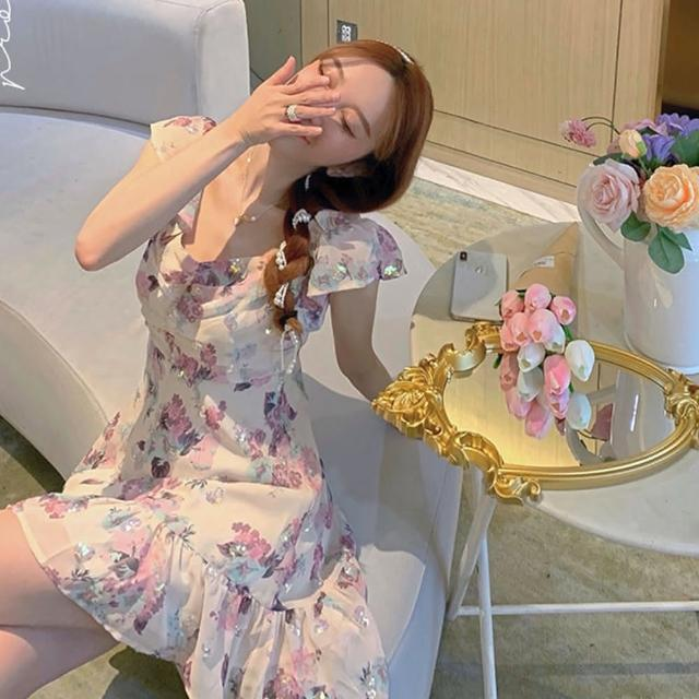 【BBHONEY】法式初戀仙女裙茶花亮片露肩小個子短洋(網美熱搜款)